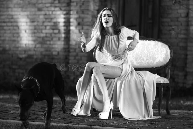 Charmig flicka och hund arkivfoton