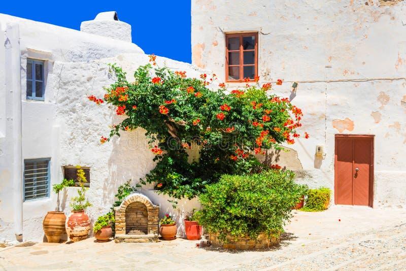 Charmiga blom- gator av den gamla staden i den Naxos ön Grekland royaltyfri foto