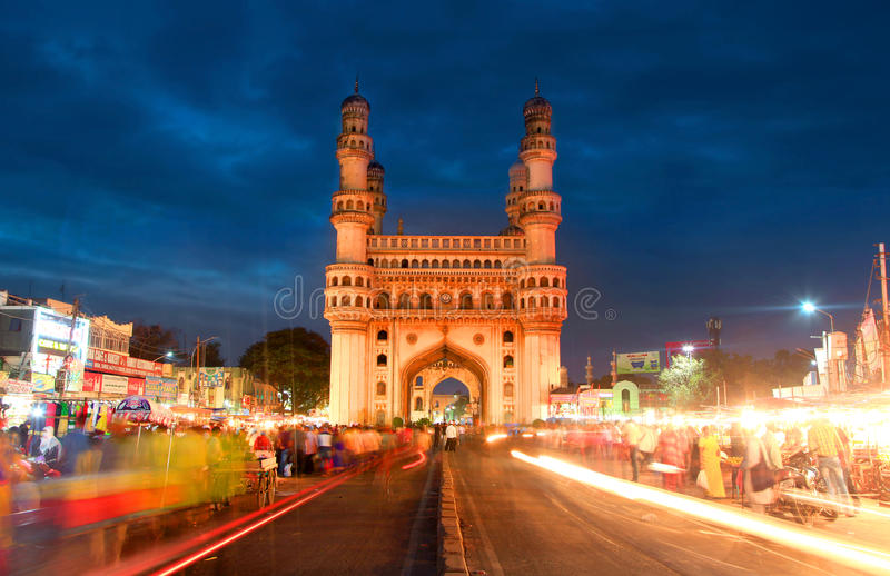 Charminar in Hyderabad. HYDERABAD,INDIA -AUGUST 29: Charminar in Hyderabad on August 29,2012, Is listed among the most recognized structures in India, Built in stock photography