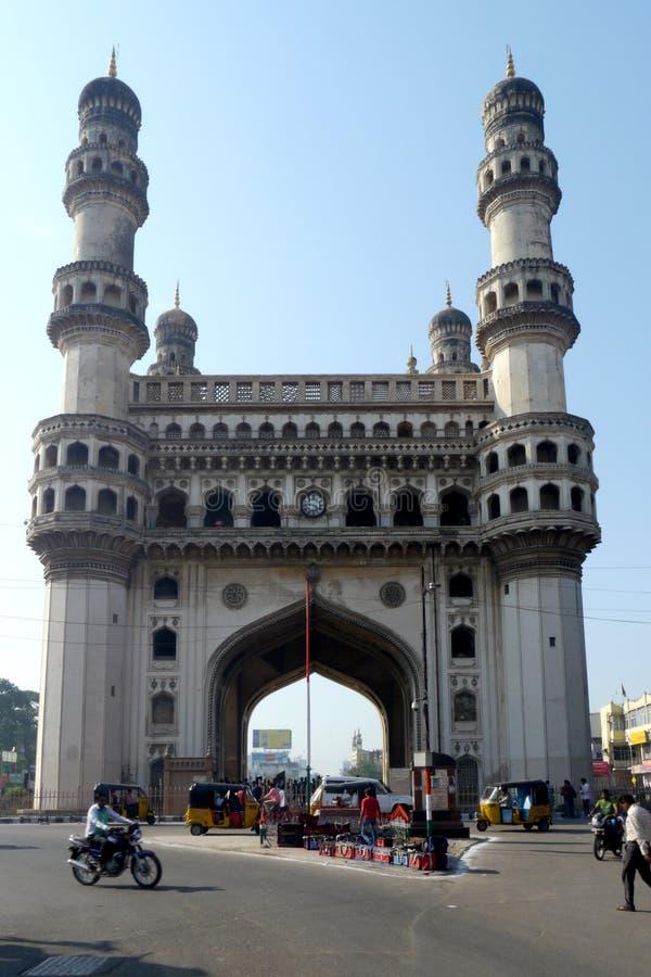 Charminar Hyderabad, Indien - 22 Oktober 2015: Charminar monument i Hyderabad, Indien arkivbilder