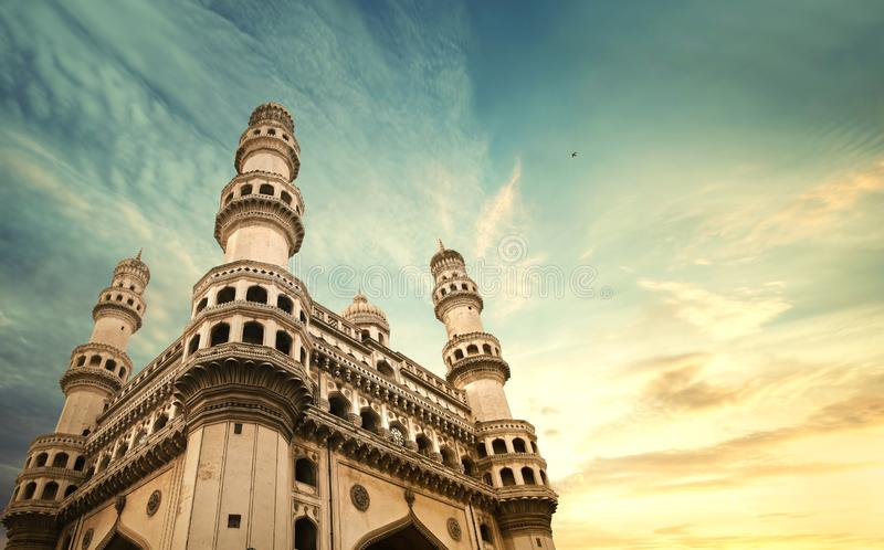 Charminar hyderbad monument and mosque. The Charminar, constructed in 1591, is a monument and mosque located in Hyderabad, Telangana, India. The landmark has stock photo