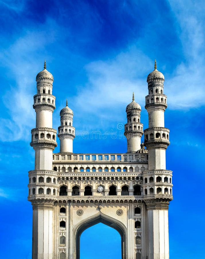 Charminar hyderbad monument and mosque. The Charminar, constructed in 1591, is a monument and mosque located in Hyderabad, Telangana, India. The landmark has stock images