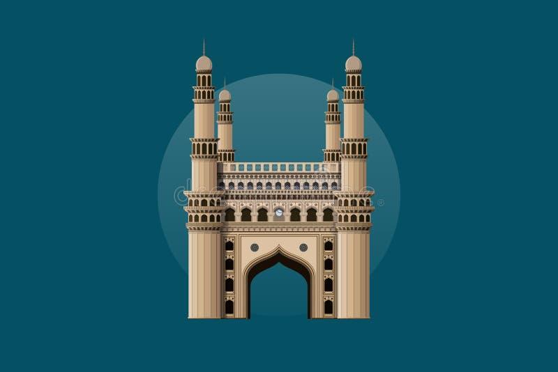 Charminar - Indian Landmark Vector Design. Charminar Historical Landmark of Indian street situated in Uttar Pardesh Beautiful Vector Design Illustration royalty free illustration