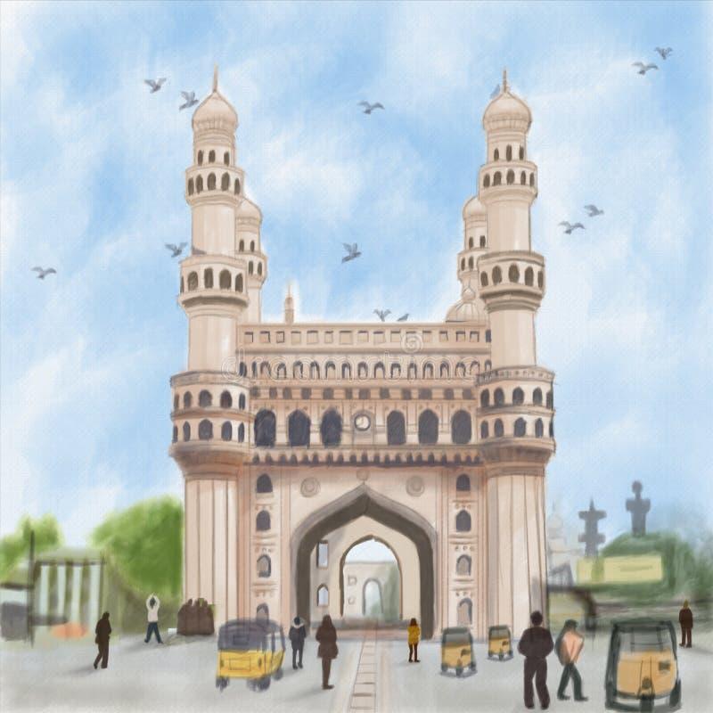 Charminar Indien arkivbild