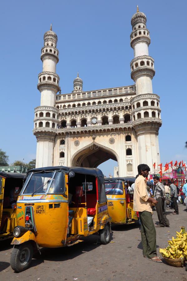 Download Charminar and tuk-tuks editorial stock photo. Image of construction - 23076378