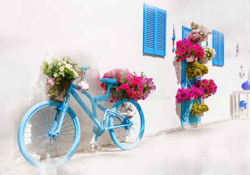 Old streets with old bike,windows and floral decoration,Bodrum, Turkey. stock photography