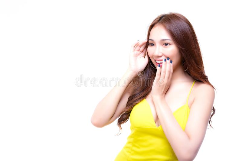 Charming beautiful woman looks copy space. Attractive beautiful. Woman gets surprised, shocked of product, brand or goods. Glamour woman feels happy when seeing stock image