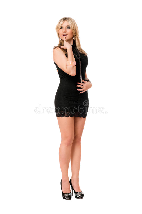 Charming blond lady in black royalty free stock photo
