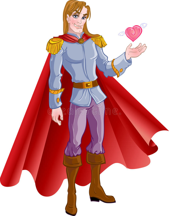 charming blond prince with pink heart royalty free illustration