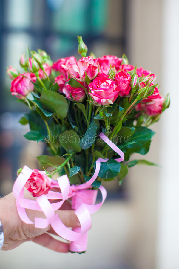 Download Charming Bouquet Of Roses In Woman's Hand Stock Photo - Image of love, smell: 32915314