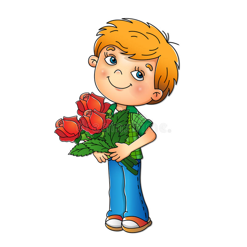 Charming boy holding a bouquet of roses royalty free illustration