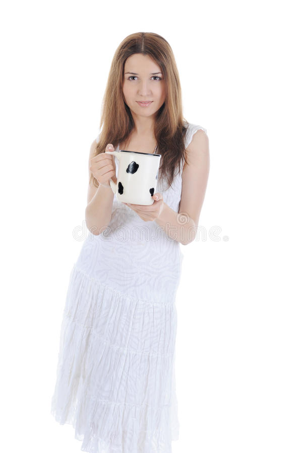 Charming brunette with a big mug in his hands.
