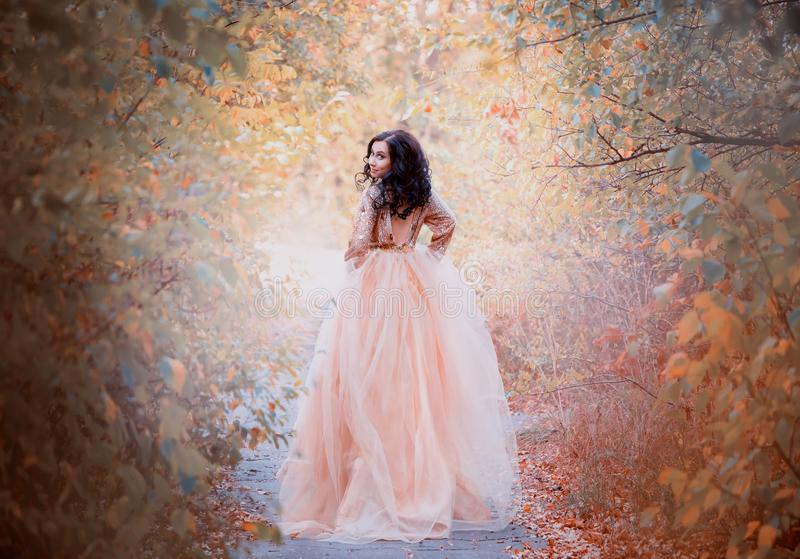 Charming brunette with dark hair girl runs away from the ball, the princess in a luxurious royal gold delightful dress stock images