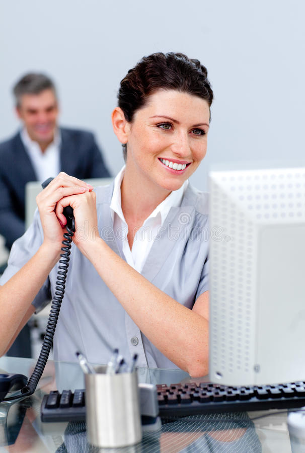 Charming Business Woman On Phone Stock Images