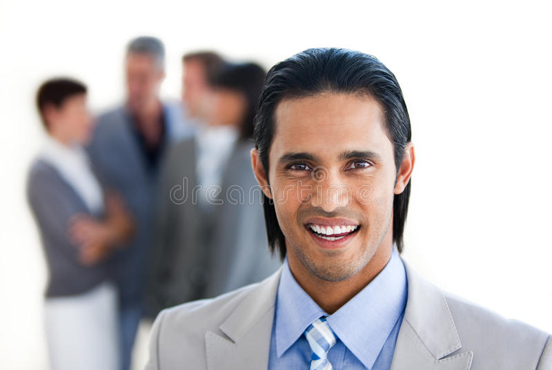 Download Charming Businessman In Front Of His Team Stock Image - Image: 12257071