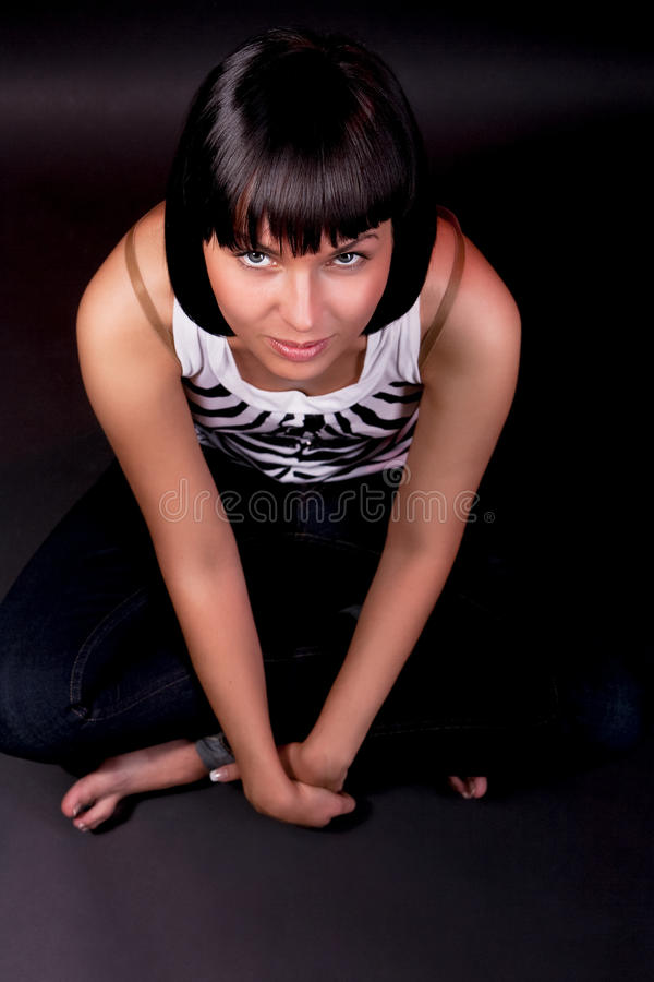 Download Charming Caucasian Girl Sitting On Floor Stock Photo - Image: 12376558