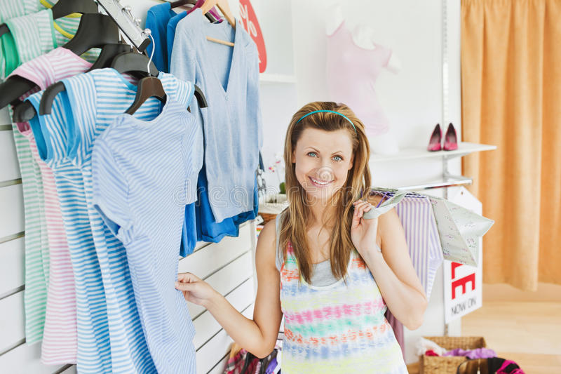 Download Charming Caucasian Woman Doing Shopping Smiling Stock Image - Image: 15519021