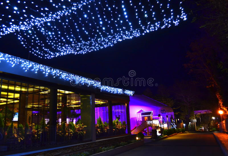 Street on Christmastime. Photo taken in front of establishment on a street on December stock photography