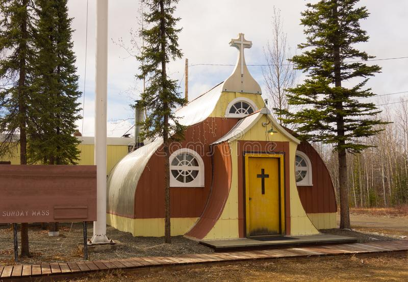A charming church at beaver creek. A catholic house of worship as seen in northern bc in the springtime royalty free stock photo