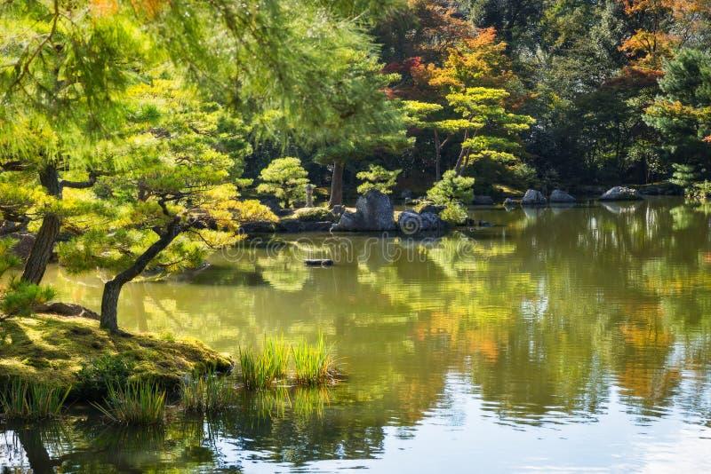 Japanese garden in autumn in Kyoto, Japan. stock photos