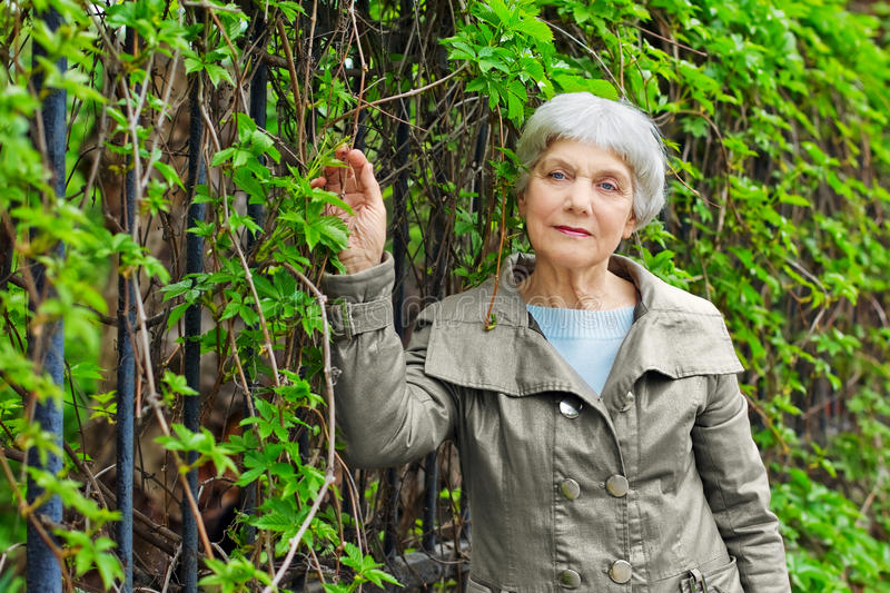 Charming elderly woman senior in park with foliage stock photos