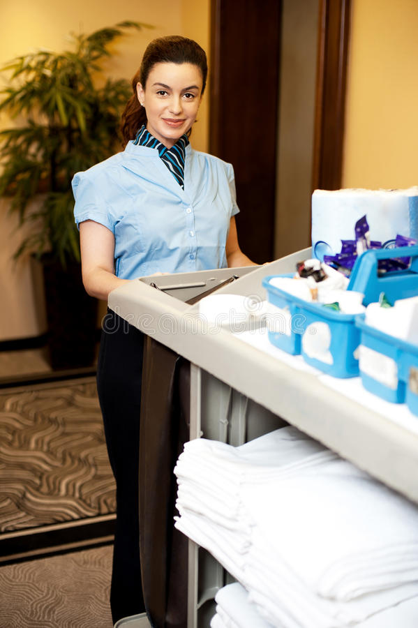 Download Charming Female Executive Holding Toiletries Cart Stock Image - Image: 26891231