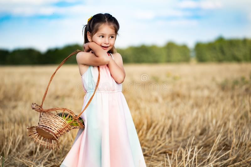 Charming funky little five-year-old little girl. In a long dress walks the field with beveled wheat with a wicker basket in her hands. Harvest and Fall Concept stock images