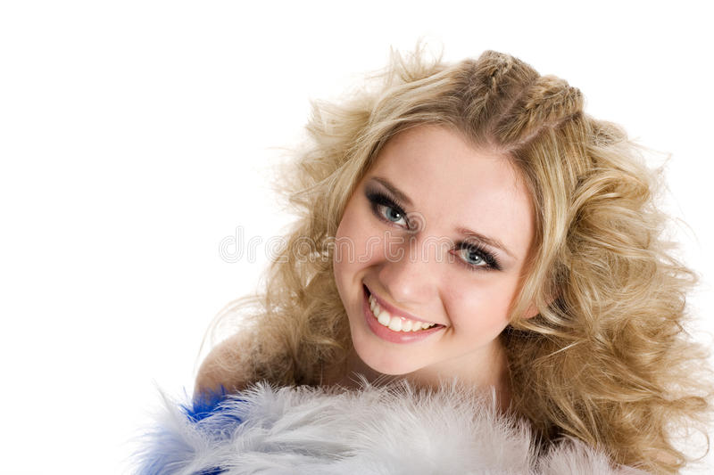 Charming girl blonde looking up. royalty free stock photos
