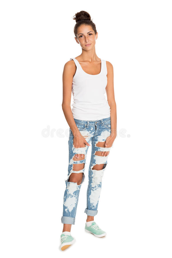 Charming girl in jeans royalty free stock photography