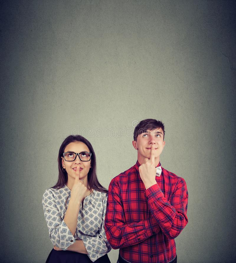 Young couple thinking of future plans stock image