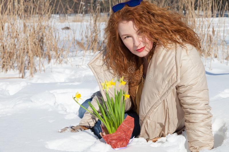 Pleasant fashionable curly haired woman sitting in snow with yellow narcissus. Charming glance. Gorgeous red haired woman sitting on snow surface and looking at stock image