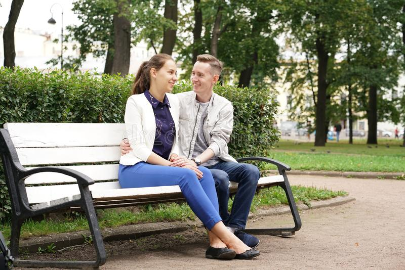 Charming good couple husband and wife walking around the city, hugging and spending time with love. Together stock images