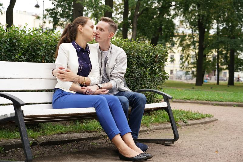 Charming good couple husband and wife walking around the city, hugging and spending time with love. Together stock photo