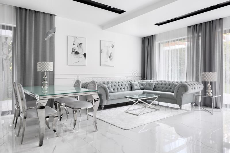 Charming and glamour gray living room stock photos