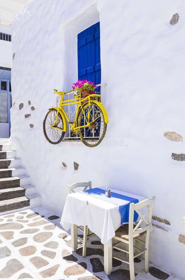 Charming Greek tavernas on narrow streets stock photo