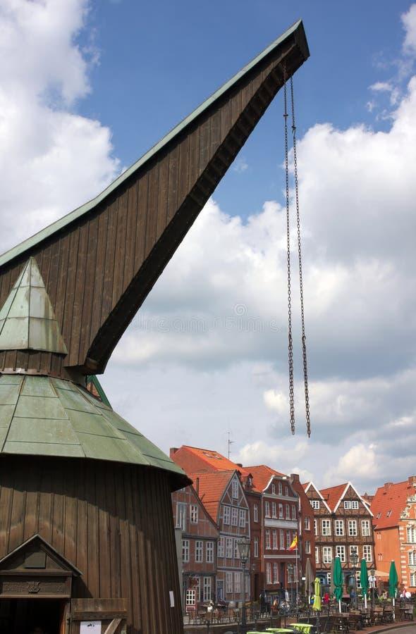 Historical treadwheel crane- II-Stade stock photo