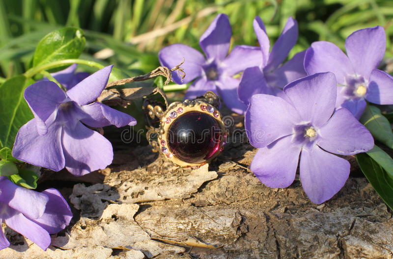 Charming Handmade glass ring on the nature background stock photo