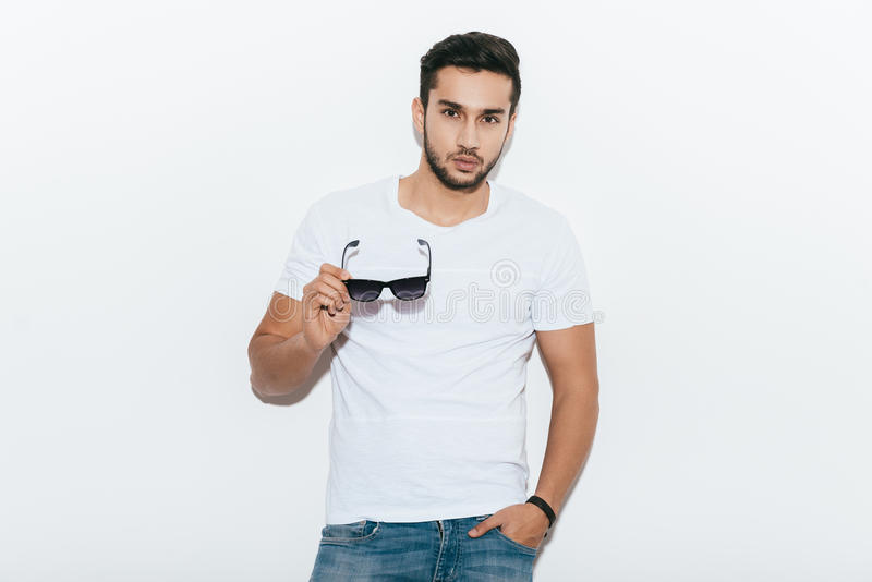 Charming handsome. royalty free stock photography