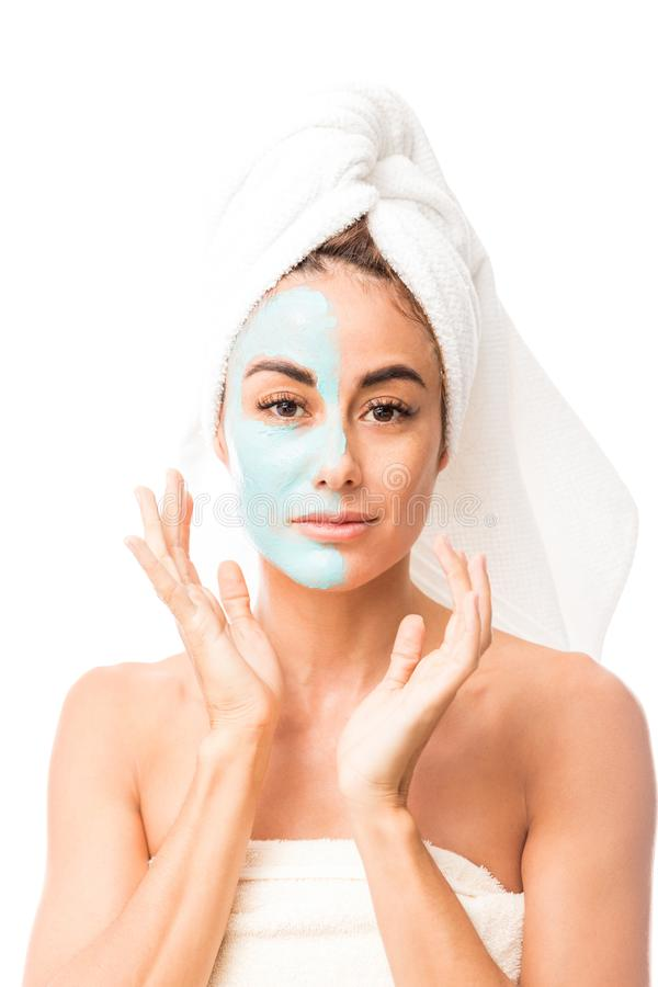 Charming Hispanic Woman With Facial Mask stock images