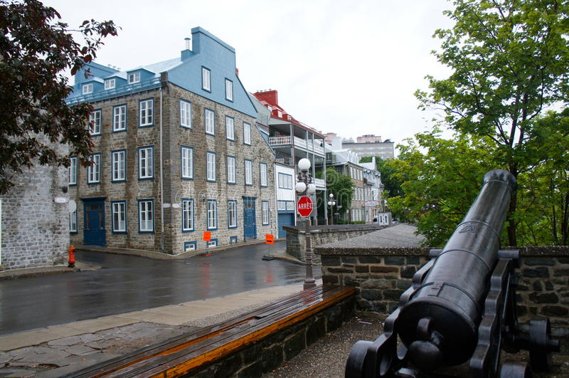 Charming historical street of Quebec stock photo