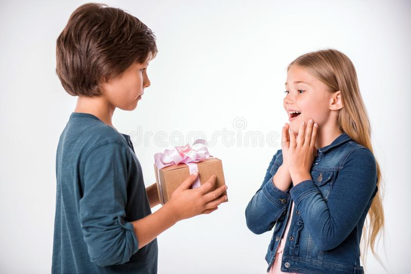 Charming and cheerful kids royalty free stock photo