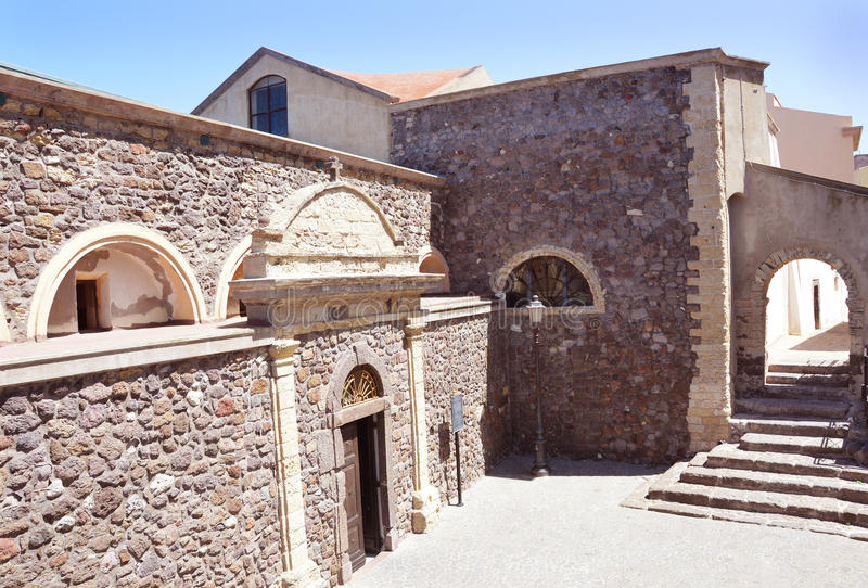 Charming little medieval town Castelsardo in Sardinia stock photo