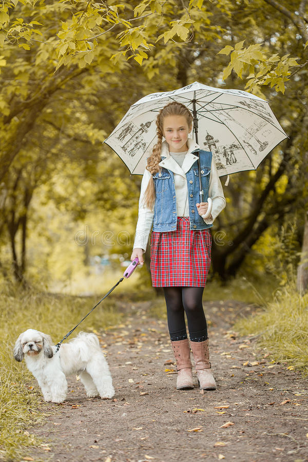 Charming little model posing in park with puppy. Image of charming little model posing in park with puppy royalty free stock photos