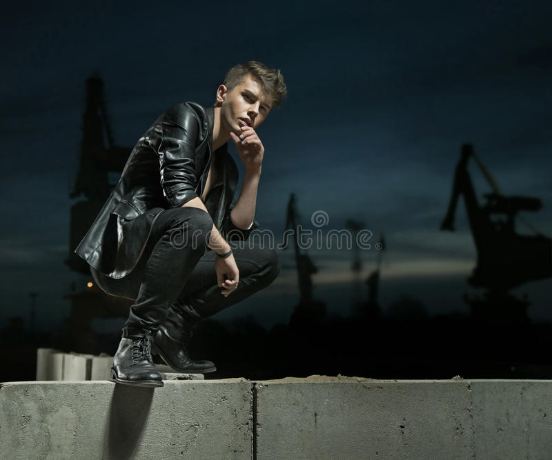 Charming man clothed trendy stuff. Charming guy clothed trendy stuff royalty free stock images