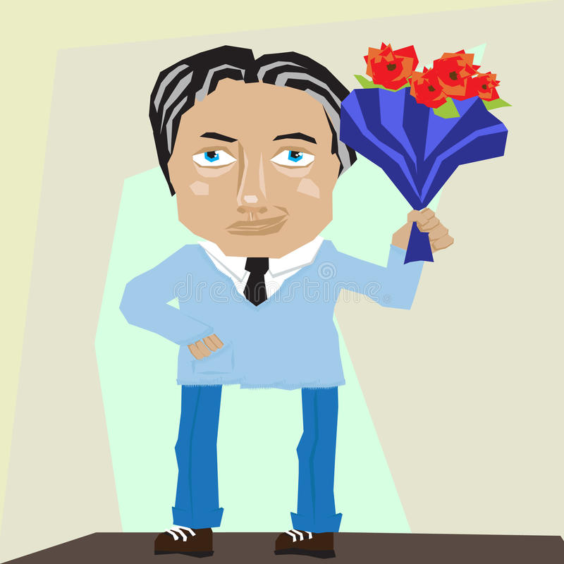 Charming man with flowers royalty free illustration