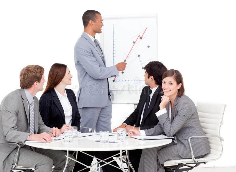 Download Charming Manager Giving A Presentation Stock Image - Image: 12716033