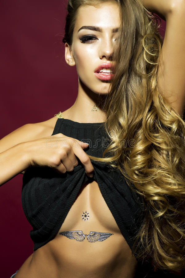 Charming model with tattoo royalty free stock photos