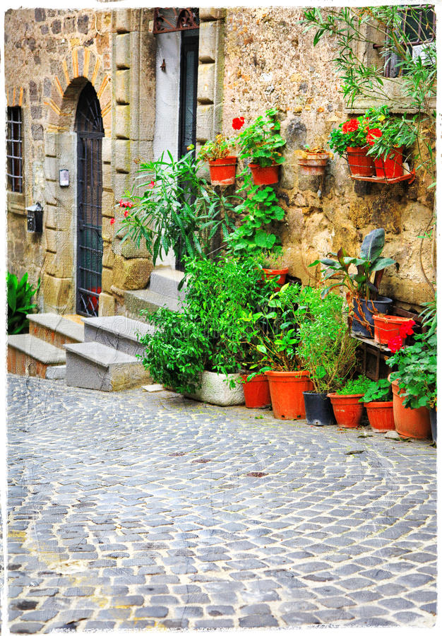 Charming old streets of italian villages. Artistic picture stock photography
