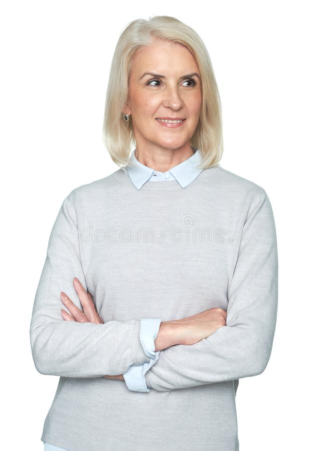 Charming old woman with perfect soft face skin, smiling stock photography