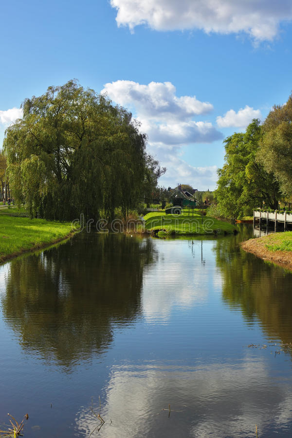 Charming park and the small channel in Holland stock images